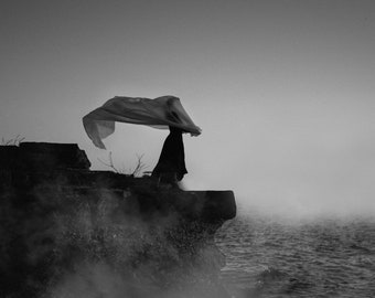 Apparition - Whisper Series, witchy fine art print, foggy cliff, black and white photo