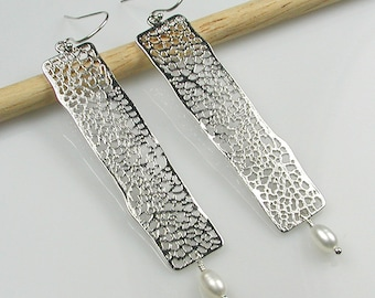 Silver Filigree Bar Earrings with Pearls Silver Rectangle