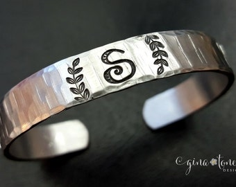 Initial Bracelet, Cuff Bracelet, Personalized Bracelet, Initial Jewelry, Hand Stamped Cuff, Hammered Aluminum Cuff, Gift for Her, BFF Gifts
