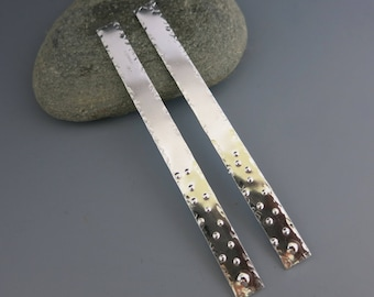 Aluminum Earring Rectangles, Handmade Metal Dangles,  3 Inch x 1/4 Inch Connectors, Made to Order