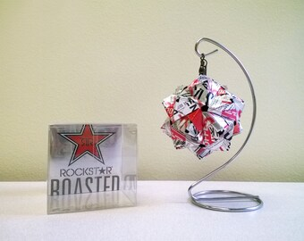 Rockstar Roasted White Chocolate Drink Can Origami Ornament // Upcycled Recycled Repurpose Art // Valentines Day // weird gifts // cool gift