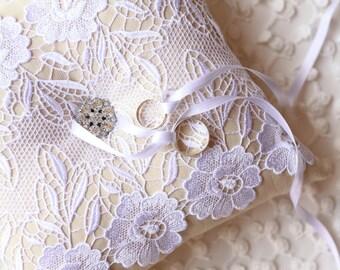 Ring Bearer Pillow, Cushion, Linen Pillow, Guipure Pillow, Wedding Pillow, Ring Pillow