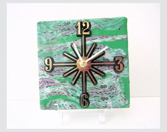 Wall Clock or Desk Clock, Battery Clock, Green with Pink & White Design