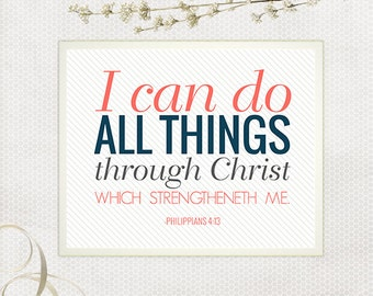 I Can Do All Things Scripture Art, Scripture Print, Praise and Worship, Bible Verse, Coral and Navy, Modern Typography, DIY Nursery Decor