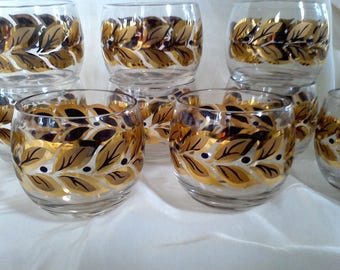 On the Rocks Glasses, Low Ball glasses, Mid Century, Bar Ware, Set of Ten