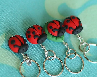 Ladybug Stitch Markers set of 4 Miniature Polymer Clay Sculpted Insect Knit, Crochet Accessories
