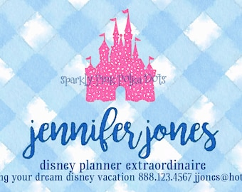 Disney World Land Vacation Parks Travel Agent Planner Consultant Business Cards Cinderella Castle Mickey Minnie Gingham Pink Blue Spots Dots
