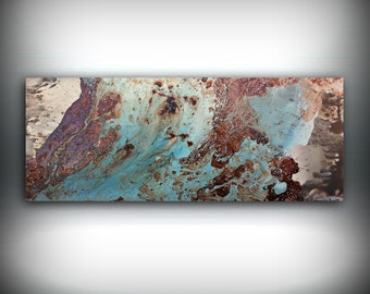 "Copper Coastal Painting 16"" x 40"", Acrylic Painting on Canvas, Abstract Painting, Contemporary Art, Large Wall Art, By L Dawning Scott"