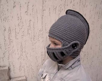 Crochet knight helmet hat-Gray helmet-Boy hat-Children hat-Fantasy play-Original hat -Gladiator-helmet with visor-Gift for boy-ready to ship
