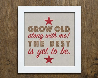 Grow Old Along With Me - Romantic Cross-Stitch Pattern 4 page Instant Download PDF booklet