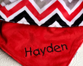 Personalized Baby Blanket, Baby Girl or Boy blanket, Red Black Grey Chevron, Red Minky Baby Blanket, Monogrammed Baby Blanket, Baby gift