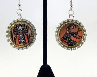 Tarot Card Earrings,  Mismatched Earrings, Bottle Cap Earrings, Recycled Jewelry, Soda Bottle Cap, Occult Magic, Repurposed Jewelry