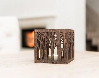 Wooden candle lantern - Wooden candle holder - Rustic candle holder - Brown lasercut candle holder - Wooden tealight lantern