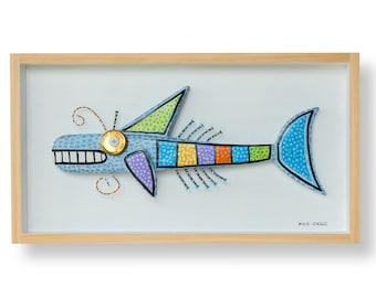 Stylised Blue Fish Sculpture