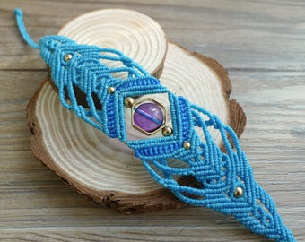 Misssheep H19 - macrame bracelet with amethyst, brass beads, Handcrafted jewelry. Unique design, Macrame Jewelry,Micro Macrame