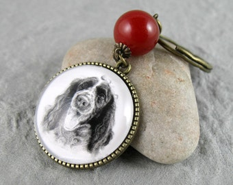 Cocker Spaniel Key Ring, Pet Drawing, Pet Gift, Dog Keychain, Dog Art, Silver, Bronze, Gemstone Keychain, Cocker Spaniel