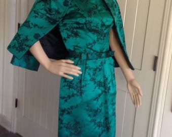 vintage 1960's Dress Suit ,  Silk Satin  Asian Print , in Winter Green and Black .