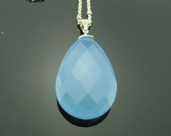 Large Blue Chalcedony Sterling Silver Pendant