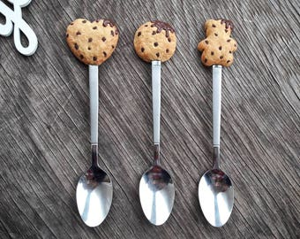 Sweet spoons with oat cookies from polymer clay, decorative dessert spoons, polymer clay spoons, handmade spoons, original gifts, gift idea.