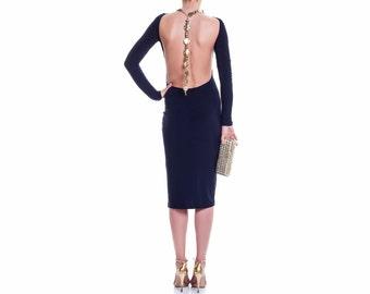 Backless Dress, Midi Dress, Blue Dress, Dark Dress,Womens Dress, Ladies Dress, open back dress, Bridesmaid Dress, Summer Dress, Trendy Dress