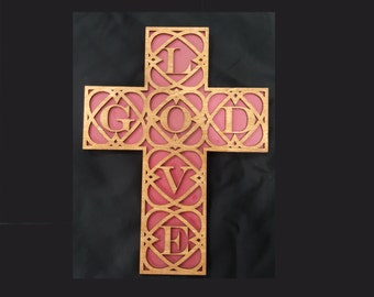 Love God Wooden Cross Wall Decor- Laser cut, birch wood