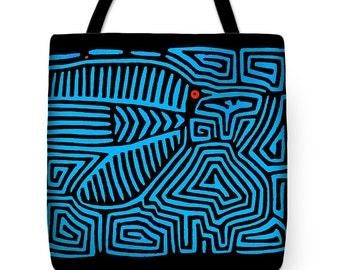 Kuna Indian Mola Blue Bird Tote Bag - SilkyPoly Blue Throw Pillow Gift - Book Bag - Laptop Bag - ReUsable Shopping Grocery  Bag - Diaper bag