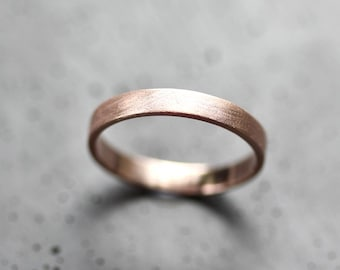 Rose Gold Women's Wedding Band Stackable Ring, 3mm Flat Slim Recycled 14k Rose Gold Ring Brushed Pink Gold Women's Wedding Ring