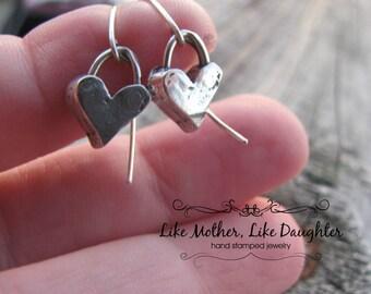 Sterling Silver Artisan Heart Dangle Earrings - Perfect for