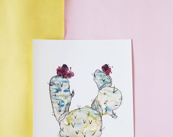 Weird flowery Cactus illustration A4, 250 mg watercolor cacti print, succulent wall art decoration