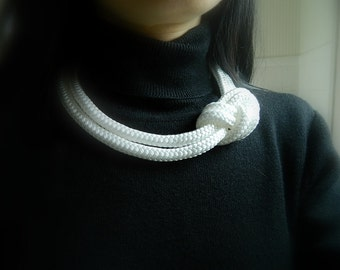 White Nautical Necklace rope Statement necklace Nautical Wedding Bib Necklace rope necklace Big Necklace Sailor Knot Necklace fiber necklace