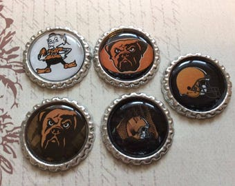 SET of 5 -Cleveland Browns Bottle Caps For Pendants, Hairbows Hair Bow Centers - Ready to use