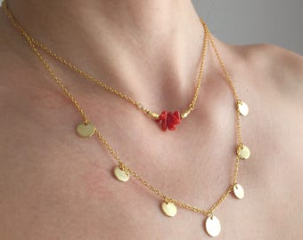 Multistrand gold necklace, gold layered necklace, gold plated necklace, coin necklace, gifts for her, coral necklace, bridesmaid gifts