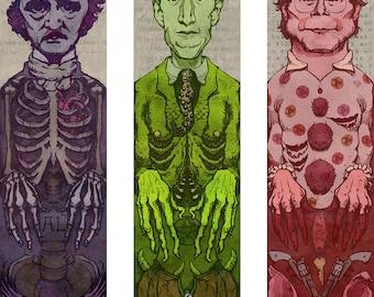 Horror Authors Bookmarks Set Edgar Allen Poe / HP Lovecraft / Stephen King