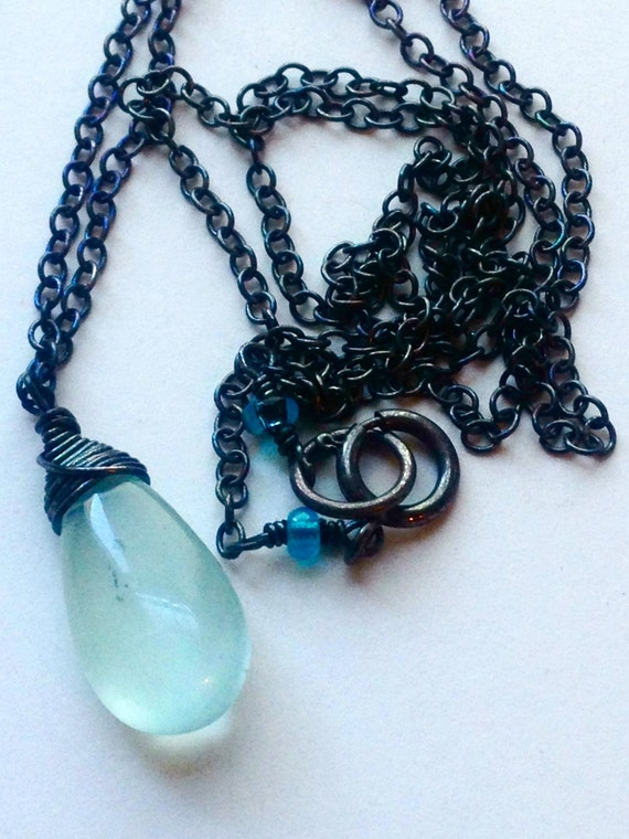 Aquamarine Briolette Necklace Solitaire March Birthstone Wedding Jewelry Throat Chakra Communication Expression