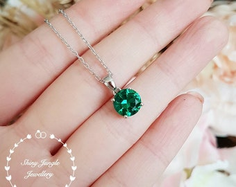 Round Emerald pendant, 2 carats vivid green lab emerald necklace with  chain, solitaire necklace