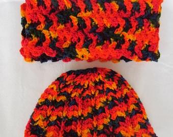 Zip line Hat and Scarf Crochet set