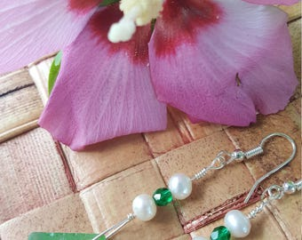 Hawaiian Beach glass Green dangle earrings. Fresh water pearls.  Green Crystal