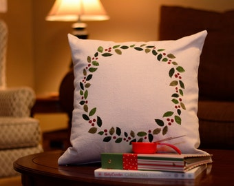 "Christmas Wreath - pillow cover (18""x18"")"