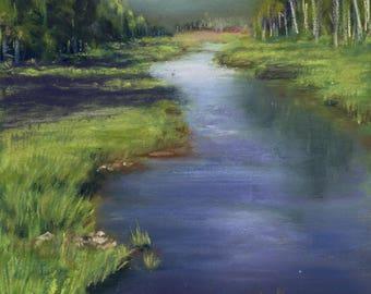 Adirondack Stream, Print, Pastel, Nature, 8 x 10, Water, Trees