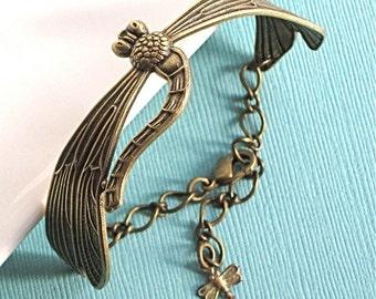 Brass Dragonfly Cuff Bracelet