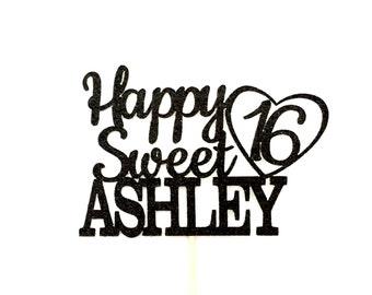 any name glitter happy sweet 16 birthday cake topper sweet rh etsy com sweet 16 logo cliparts sweet 16 logo ideas