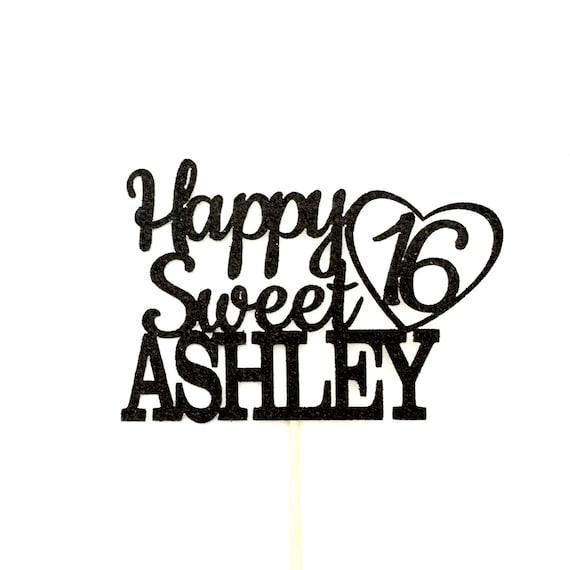 Any Name Happy Sweet 16 Birthday Cake Topper 16th Birthday