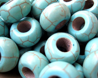 Imitation Turquoise Beads -13mm in diameter, 7mm thick, hole: 6mm