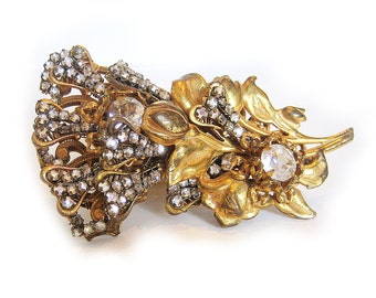 Miriam Haskell Brooch, Tulips with Rhinestones - signed