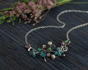 Silver small Twig choker with aquamarine flowers, flower Romantic jewelry, one of a kind choker unique gift for her