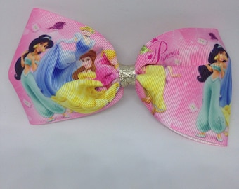 Disney princesses pink tuxedo style hair bow