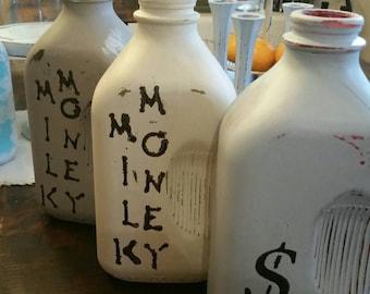 Milk bottle piggy bank
