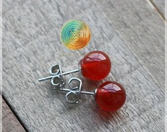 Red Agate Stud Earrings, Genuine Red Agate Earrings, Silver plated earrings, Natural Red Agate earrings,Gemstone earrings,PROTECTION!