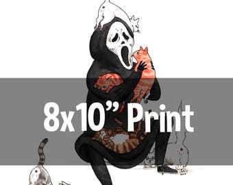 "Screams and Purrs - 8x10"" Scream Ghostface horror cats Print"