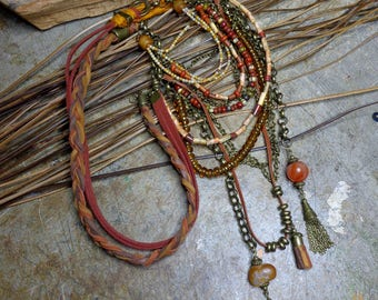 Boho necklace - hippie, old beads, boho, autumn color necklace, crazy lace agate, Indian glass, leather, suede, multi strand.